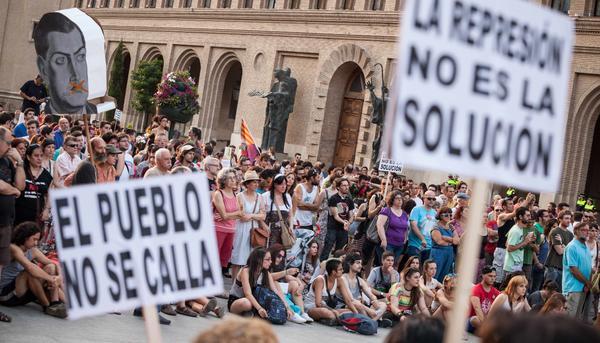 Concentración contra la Ley Mordaza en Zaragoza