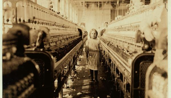 Child laborer in a South Carolina textile mill, 1908. Photograph by Lewis Hine. Image courtesy Library of Congress.