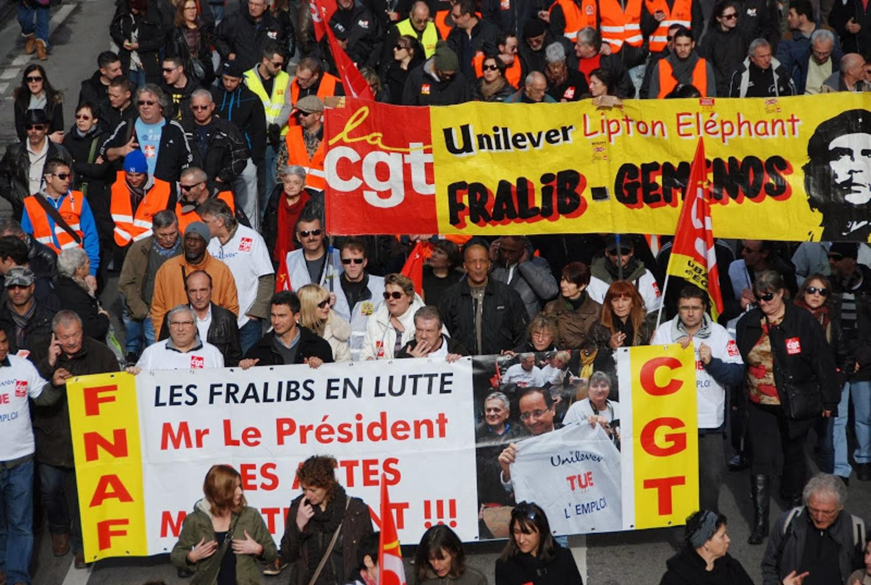 Una de las manifestaciones durante el enfrentamiento con Unilever. Imagen de Le Vent Se Lève.