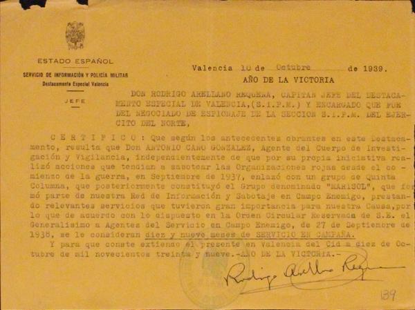 Informe del Servicio de Información y Policía Militar sobre Antonio Cano