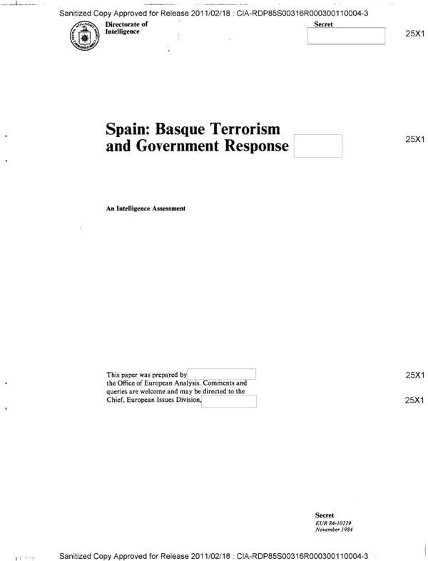 Portada del informe 'España: terrorismo vasco y respuesta del Gobierno' que la Oficina de Análisis Europea de la CIA redactó en 1984