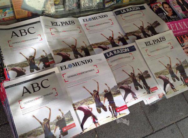 Publicidad del Banco Santander en prensa impresa.