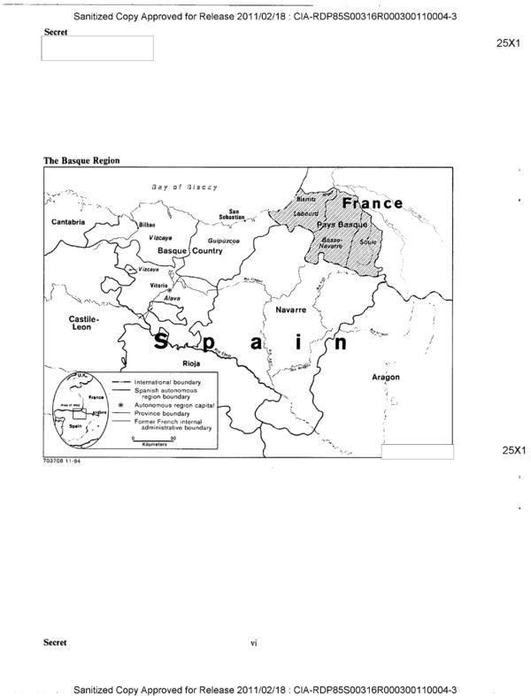 Página del informe 'España: terrorismo vasco y respuesta del Gobierno' que la CIA realizó en 1984