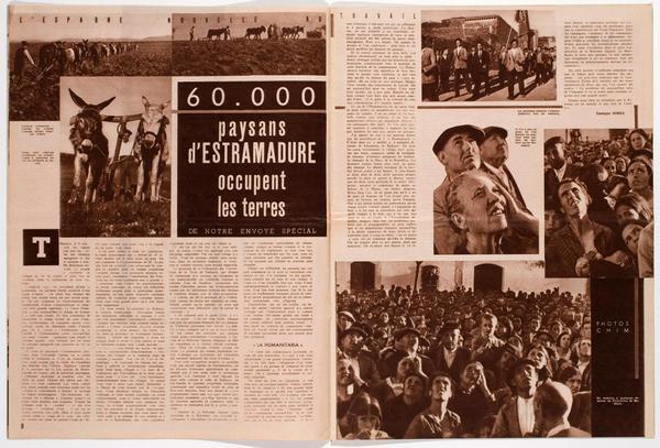 Ocupación de tierras en Extremadura el 25 de marzo de 1936, en la revista francesa Regards