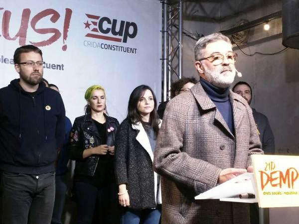 Comparecencia de Carles Riera (CUP) en la noche electoral del 21 de diciembre