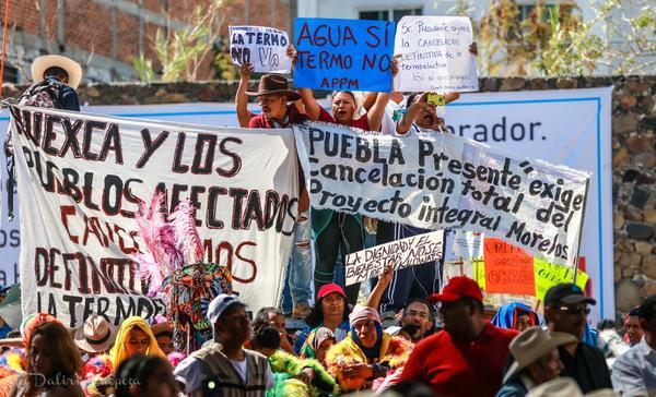Manifestación contra termoeléctrica en Huexca (Morelos, México)