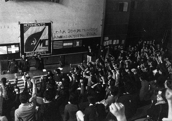 Reunión del Movimiento Comunista de Aragón. Fuente: Zaragoza Rebelde