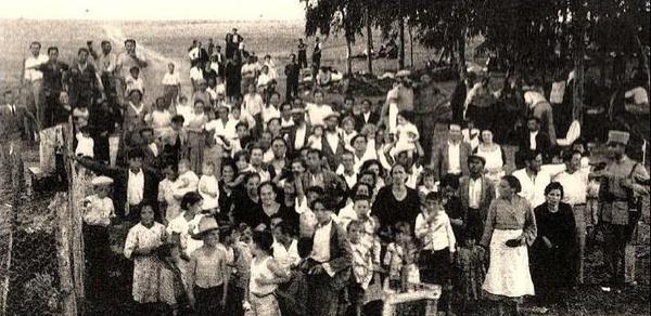 campamento de refugiados procedentes de Badajoz