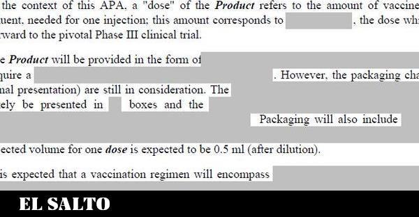Los secretos tachados de los contratos de compra de vacunas de la Comisión Europea